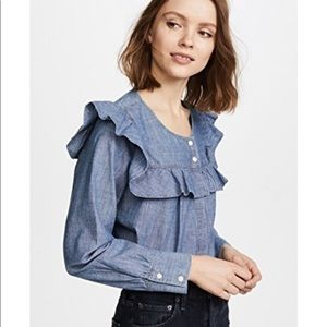 [Madewell] Chambray Ruffle Yoke Button Down Blouse